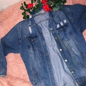 BOOHOO IVIVI LONGLINE DISTRESSED DENIM JACKET M/L